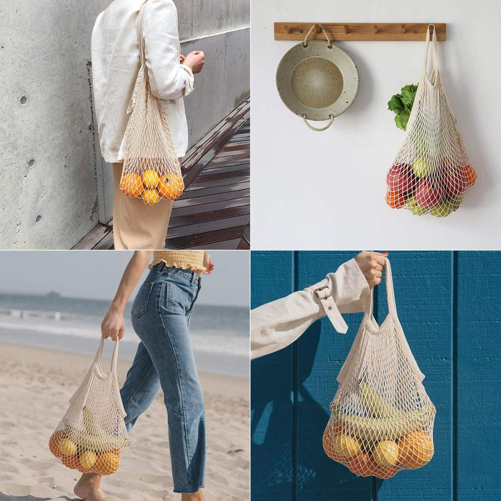2019 BSCI free sample 100% organic eco friendly net string foldable vegetable storage multifunctional reusable cotton mesh bag