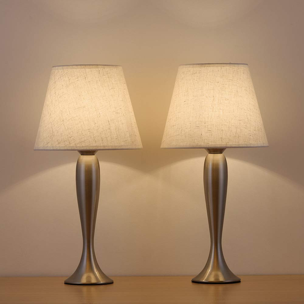 HAITRAL Mini Table Lamp Set of 2 - Modern Sand Nickel Bedside Desk Lamps with Natural Linen Shade, Elegant Accent Lamps for Bedroom, Living Room, Office, Ideal Gifts
