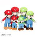 2pcs set Super Mario Bros Plush Toys Sit MARIO LUIGI 25cm Plush Stuffed Toy Retail Child