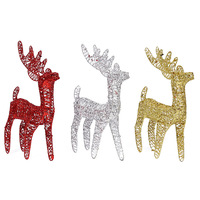 wholesale Christmas creative ornaments Mall window hotel decoration fawn Iron glitter powder Christmas reindeer