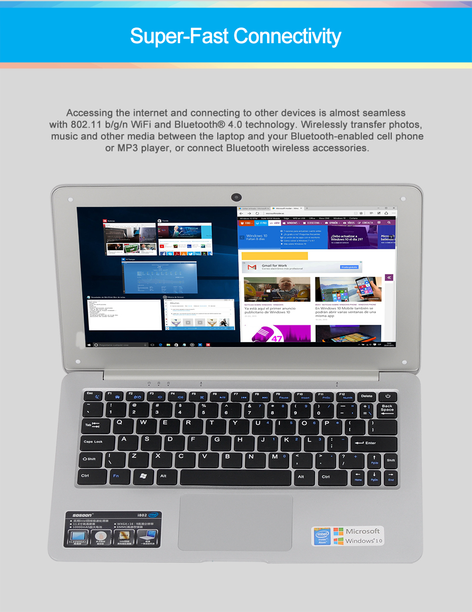 Wholesale- XGODY I802 11 6 inch Windows 10 Laptop 2GB RAM 32GB ROM Intel  Atom Z3735F 1 8Ghz Notebook Computer WiFi OTG HDMI 10000mAh