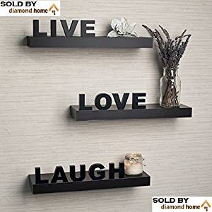 Decorative Home Decor Inspiring Live Laugh Love Wall Floating Shelves Set Mdf Wood Black