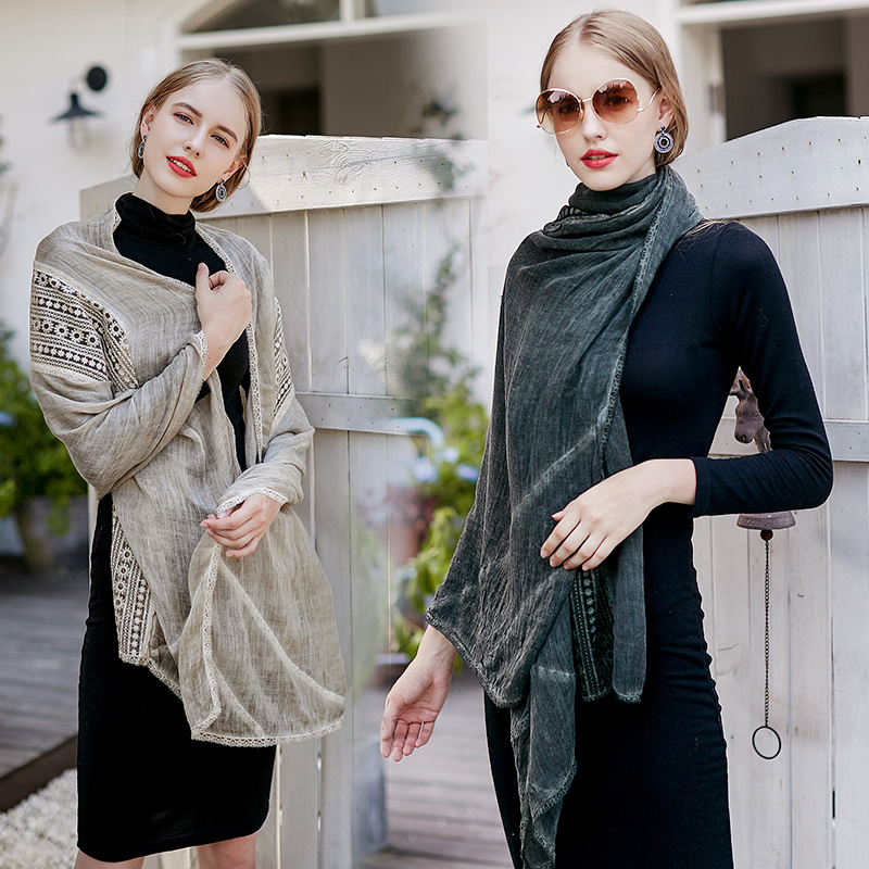 Popular Design Custom Crumple Hijab Lace Shawl Instant Floral Cotton Voile Scarf