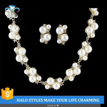 NE53-005 fashion gold plated pearl and rhinestone necklace and earrings wedding jewelry sets