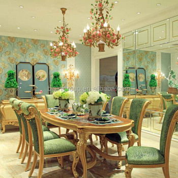 fb2a1463460a BISINI New Arrival Luxury Golden Dining Table with Green Velvet Chairs