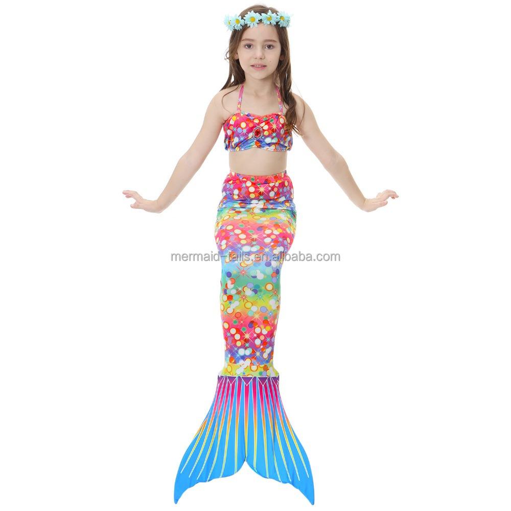 Kids Girls Bikini Sets 3pcs Mermaid Swimsuit Tail for Swimming Monofin Swimmable