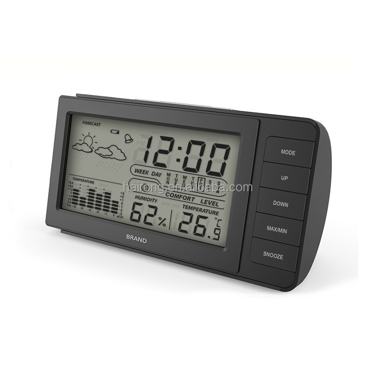 Hairong high quality Mini Table Weather Station LCD Clock With Humidity and Alarm Function