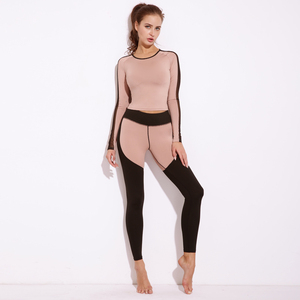 Wholesale Custom Womens Sportswear Sets Gym Long Sleeve Two Piece Set Women Clothing Activewear