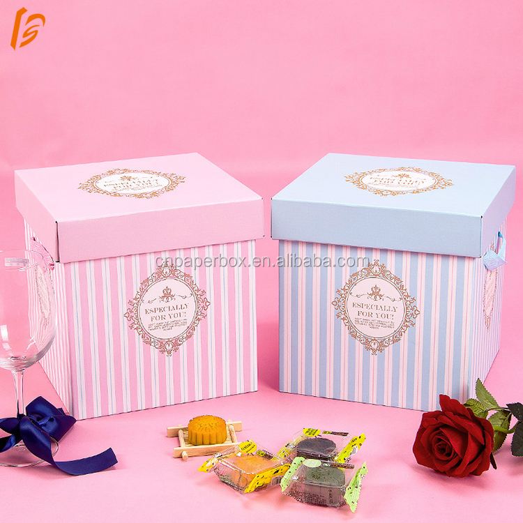 Oversized square folding portable gift box snacks printed corrugated box with lid