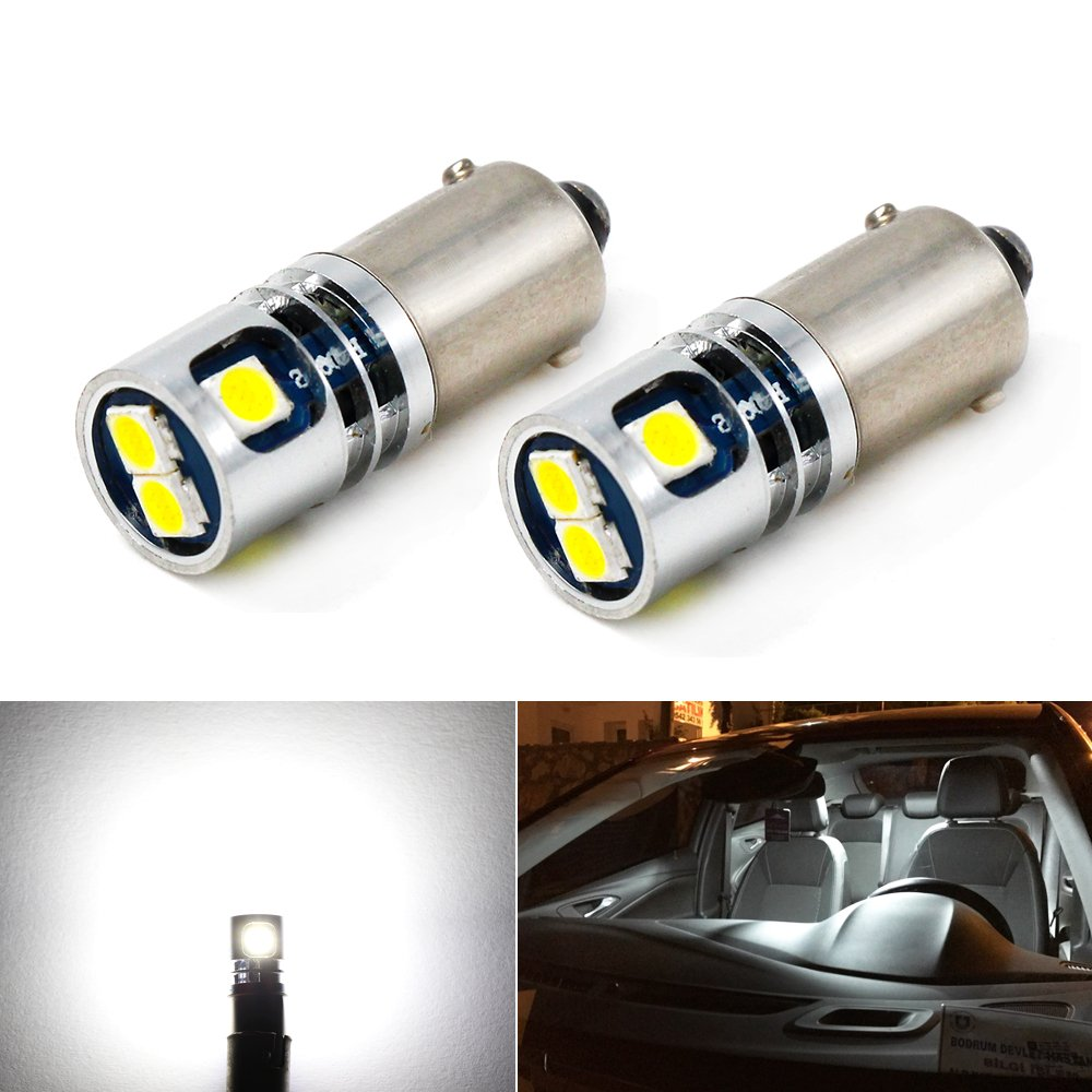 Carr Lighting 400LM Super Bright 3030 5-SMD BA9 BA9S 53 57 1895 64111 LED Car Light Bulb 6000K Xenon White