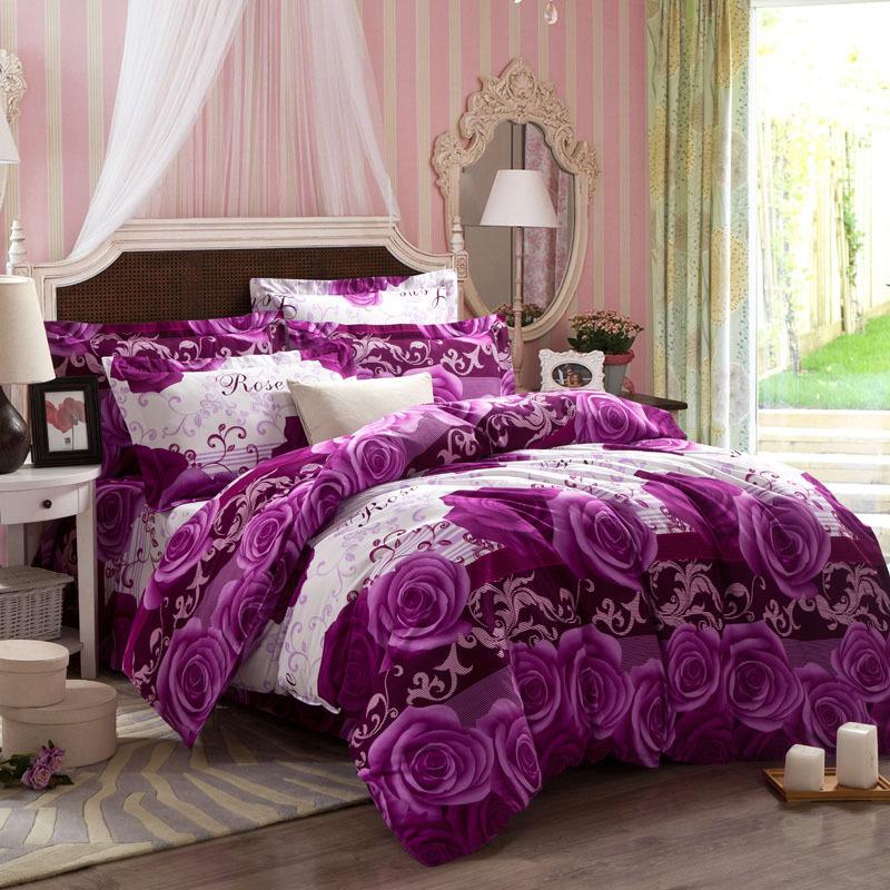 Thick warm purple comforter sets hemming duvet cover king - King size bedroom comforter sets ...