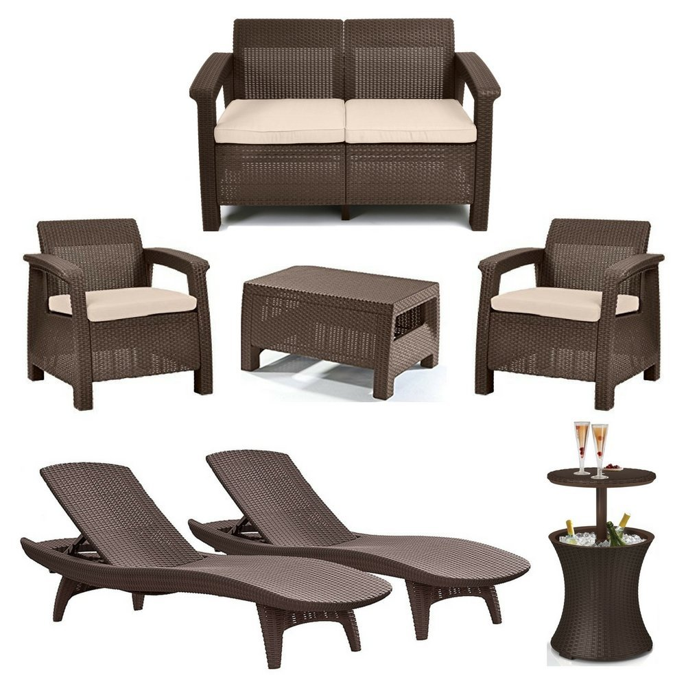 4-Piece Corfu Seating Set With Cushions, 2-Piece Adjustable Patio Chaise Lounge & 7.5 Gallon Pool Cooler Table, Rich Dark Brown Rattan Design, Keter Outdoor Furniture, Luxurious Patio & Garden Decor