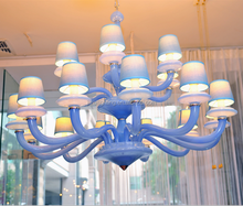 Guzhen Hand Blown Glass Pendant Lighting Modern blue Chandelier with shade