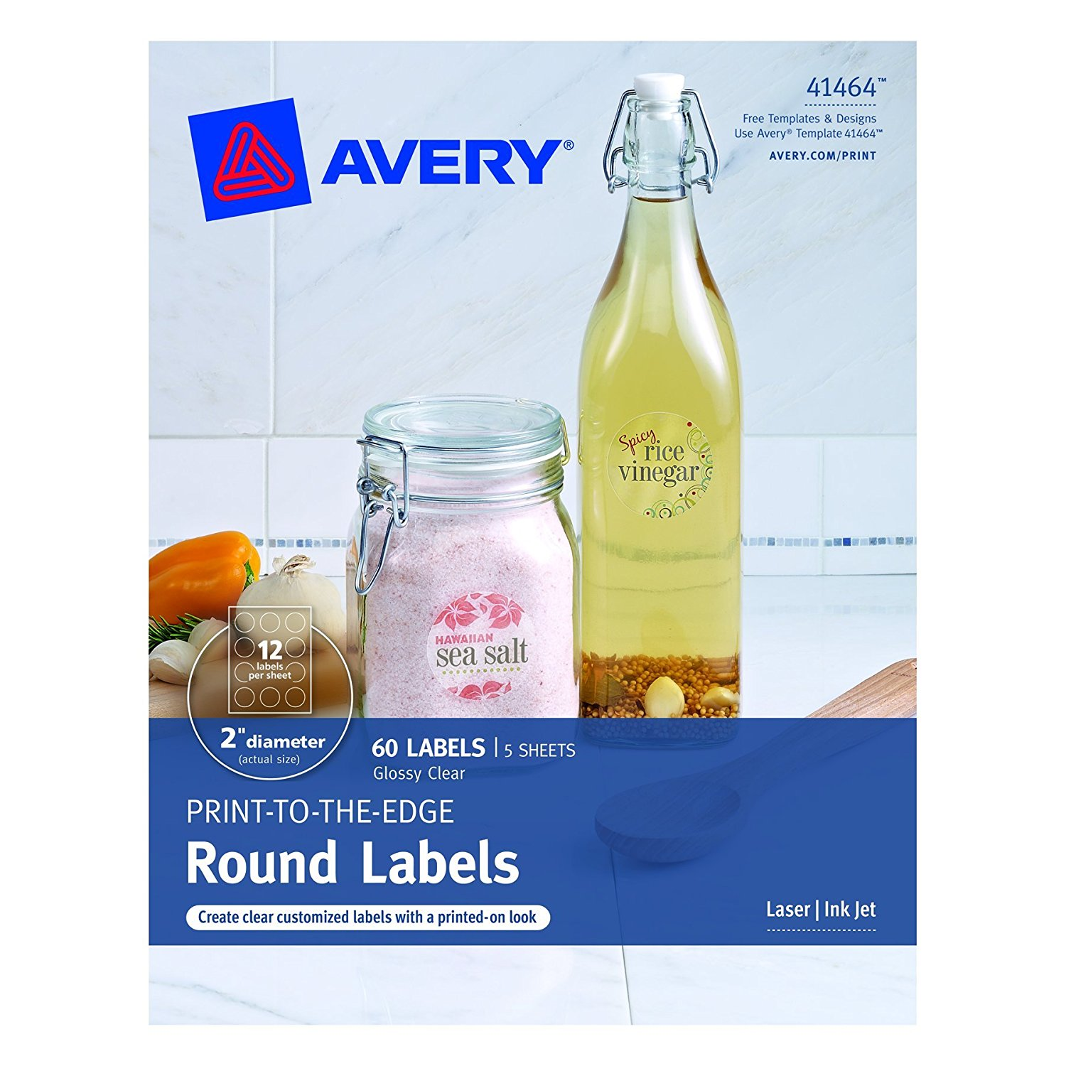 Buy Avery Print-to-the-Edge Round Labels, Clear, 2 5-Inch