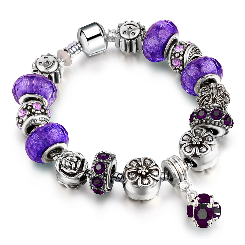 925 Silver Crystal Charm Bracelet for Women with Purple Murano DIY Glass Beads