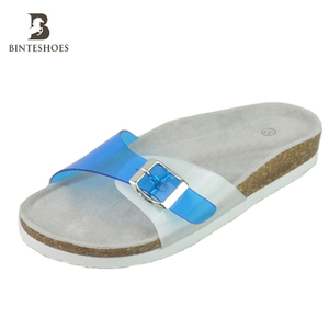 China suppliers fashion bright-coloured women's pvc eva one buckle sandals cork slippers girls' shoe