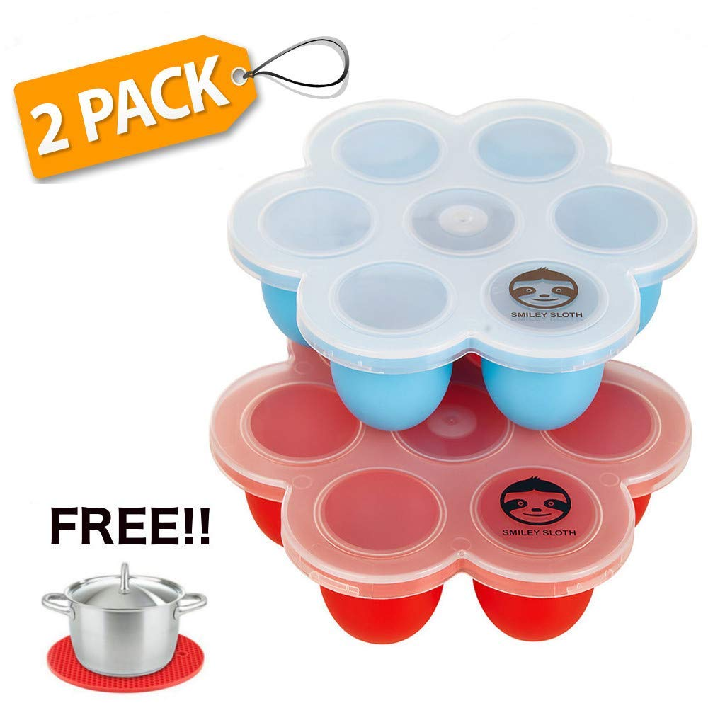 Silicone Egg Bites Molds - Instant Pot Accessories, Baby Food Freezer Trays and Pressure Cooker Accessories - Premium Egg Bites Mold for Instant Pot - 2 Pack and Singles! (2 Pack Red + Blue)