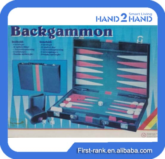 Hot design backgammon set with plastic backgammon chips for turkish