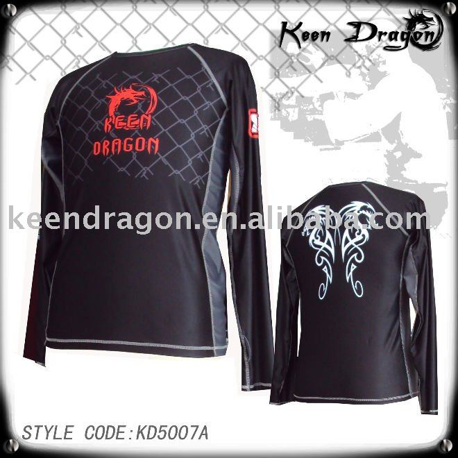 Men's lycra spandex long sleeve mma rash guard