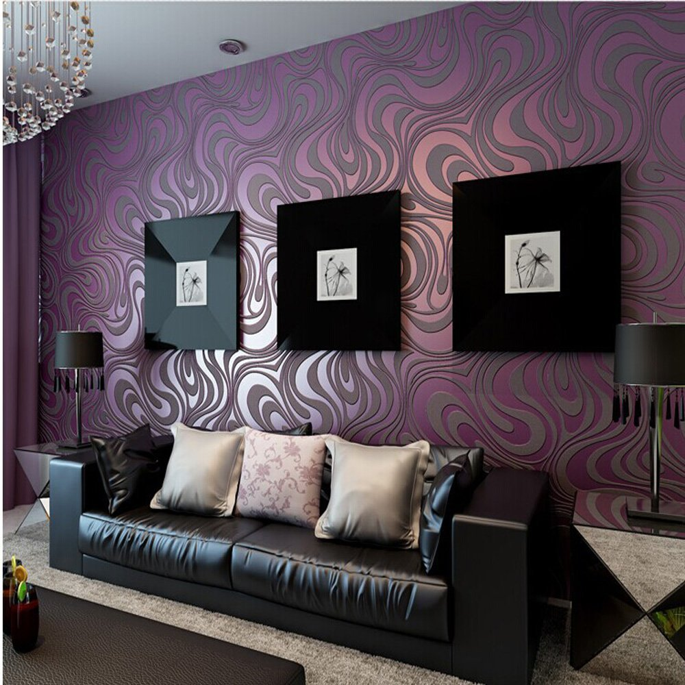 10M Modern Luxury Abstract Curve 3d Wallpaper Roll Mural Paper Parede Flocking for Striped Purple Color 0.7m8.4m=5.88SQM