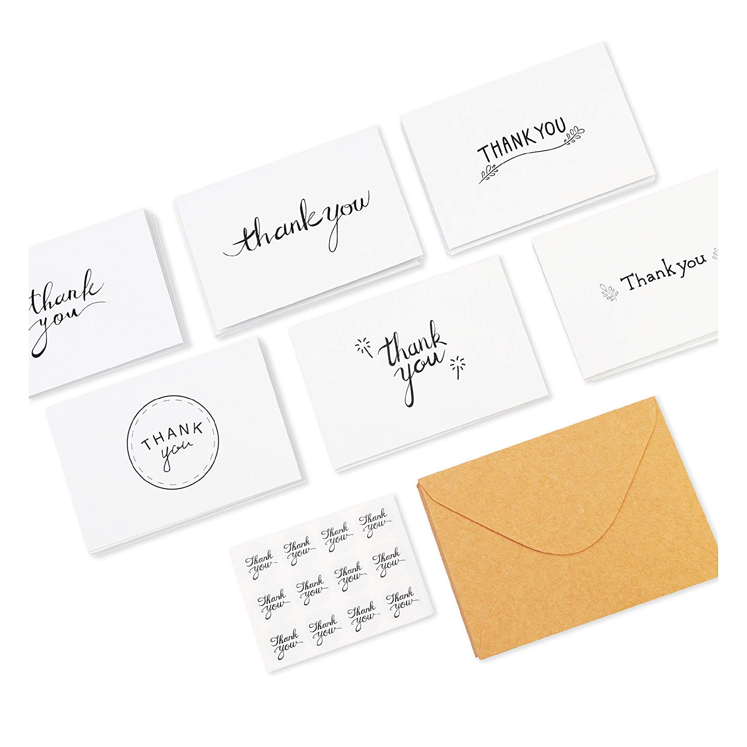 100 Cards Greeting Cards Assortment Great for Baby Showers Weddings 100 Thank You Notes with Envelopes and Sealing Stickers Letterpress Thank You Cards Birthdays Business by Krafster