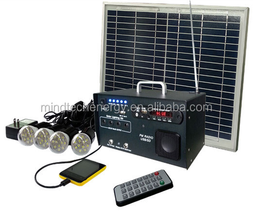 DC12V 10W home appliance solar photovoltaic system for indoor lighting with FM radio