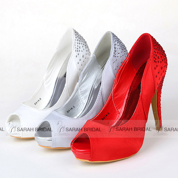Gorgeous White/Silver Crystal High Heel Wedding shoes Luxury Rhinestone Peep Toe women shoes chaussure femme zapatos mujer SA14