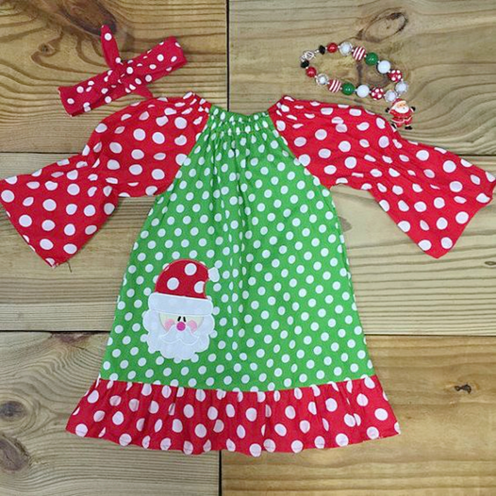2017 fashion fall winter soft cotton red and green polka dots baby girl outfits clothing set
