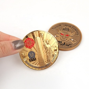 Custom Casting Both Side Printed Enamel 3D Brand Logo Old Copper Antique Plated Gold Souvenir Coin