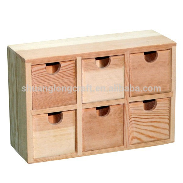 Unfinished Small Wooden Drawers Craft