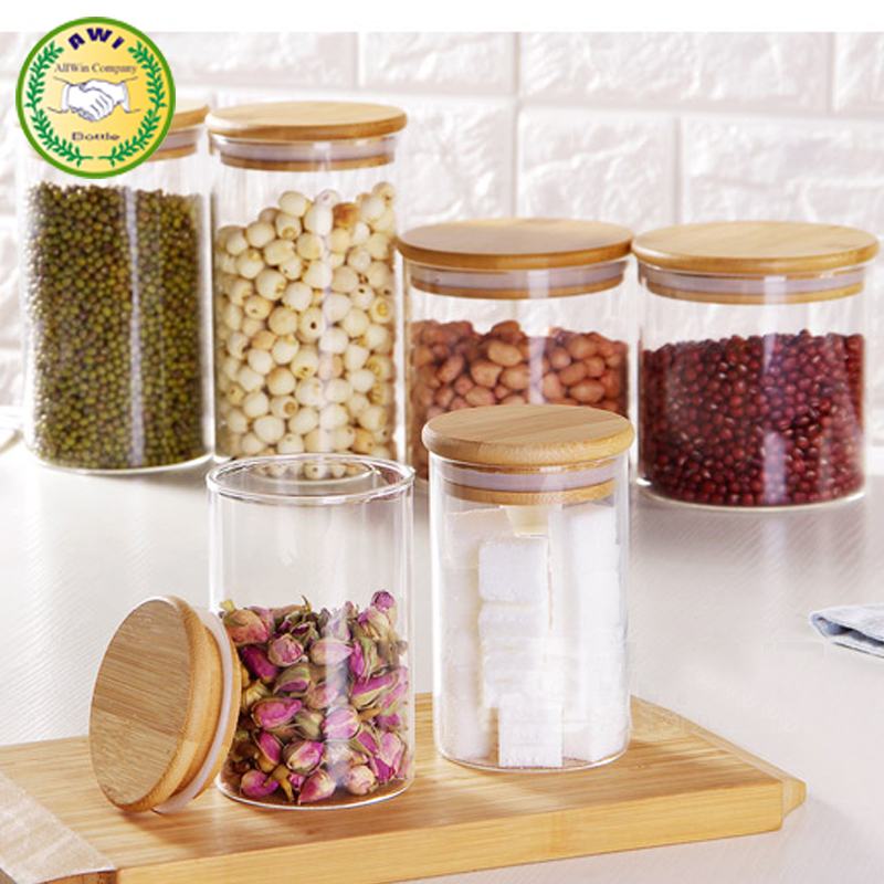 Clear glass mason jar storage canister with bamboo wood lid