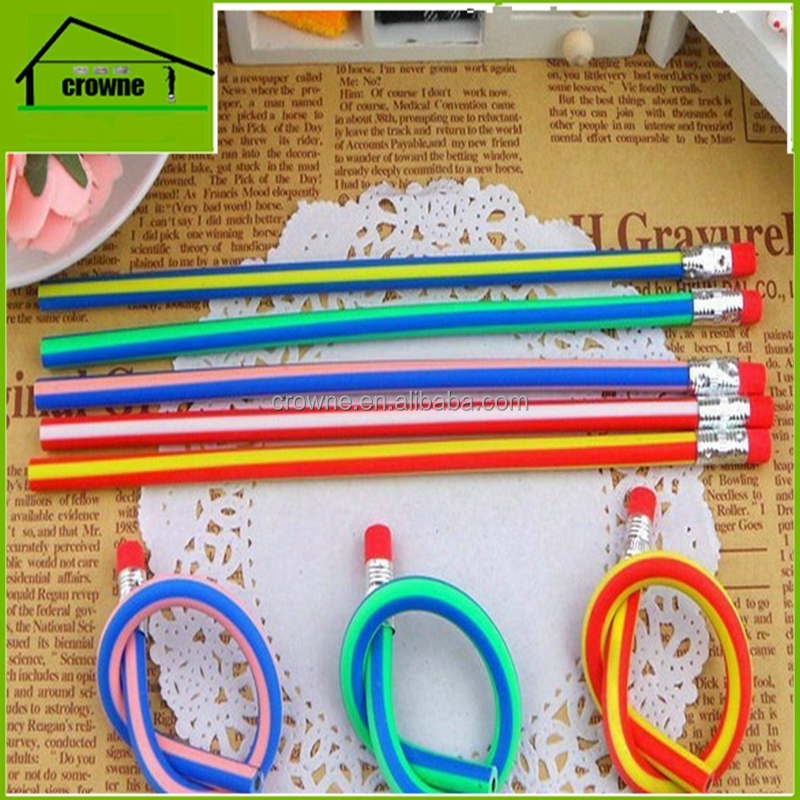 New Colorful Magic Bendy Flexible Soft Pencil With Eraser toppers Kids Writing Gift cheap wholesale pencils
