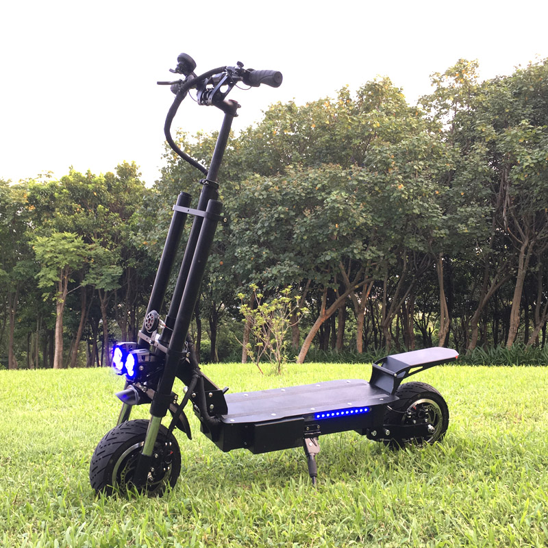 2018 Amazon best hot seller 72v 62v 5600w powerful dual motor electric scooter 11inch wheel big off road tire folding scooter, Black