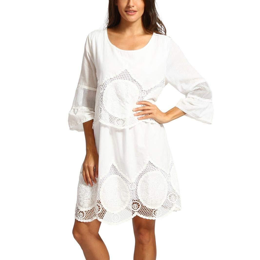 Lowprofile Fashion Dresses Women 3/4 Sleeve Hollow Out Lace Bodycon Boho Beach Dress Plus Size S-6XL