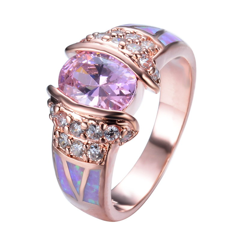 Rose Gold Filled Unique Design Pink Fire Opal Ring Crystal