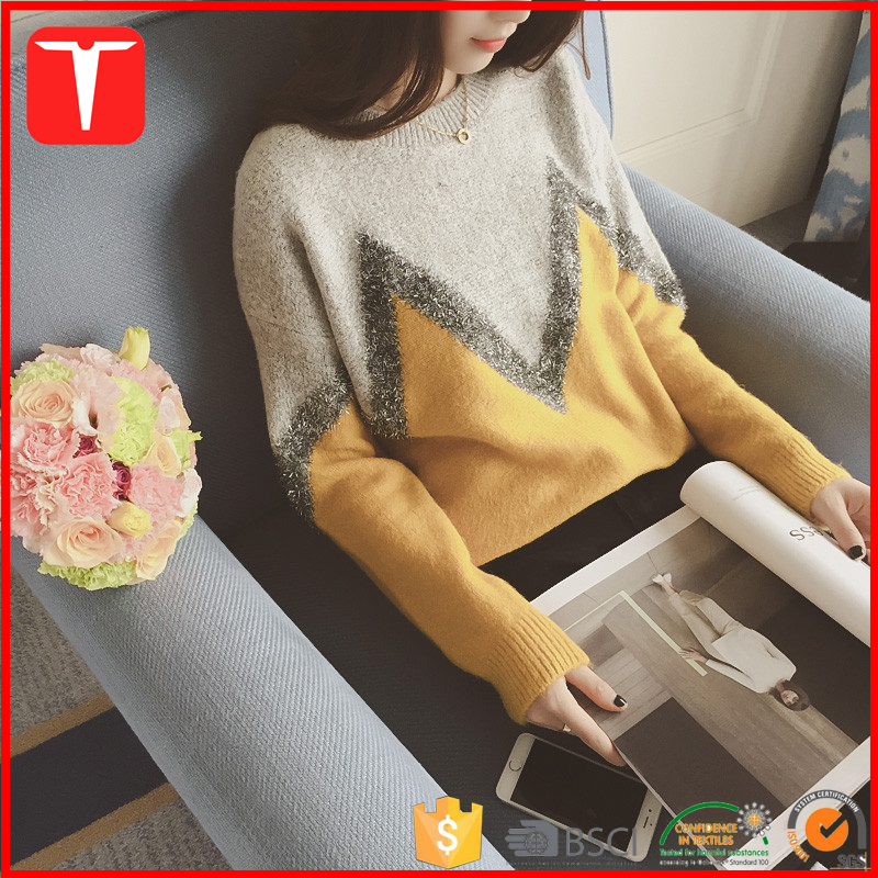 Korean fashion cusotm knitted womens jumpers