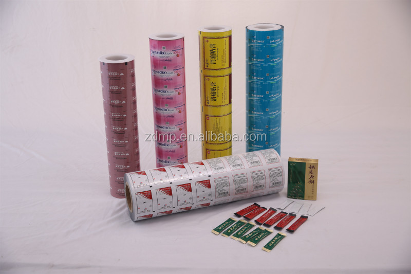 Fabrika özel baskılı plastik alüminyum folyo lamine sopa paketi film rulo ambalaj ilaç granül tozu tablet kapsül