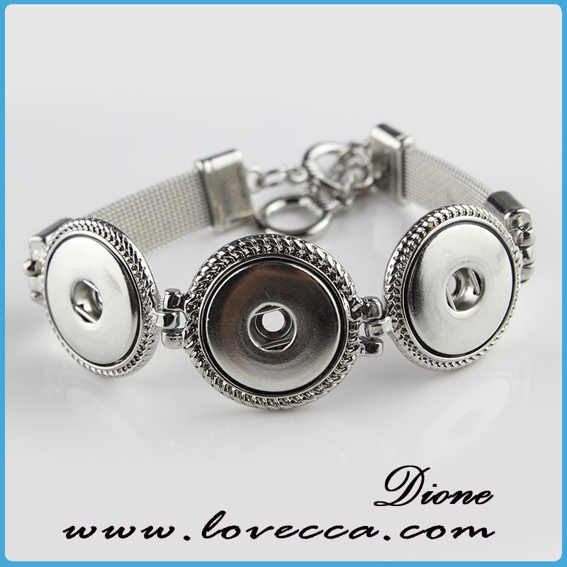 Custom rhinestone click best snap button jewelry Plastic snap button charm metal bracelets