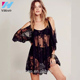 Women Beach Lace Dress Black White Off The Shoulder Loose Summer Dresses,Hippie Boho Lady Vestidos Mini Dress