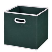 plastic handle non woven foldable square storage bin