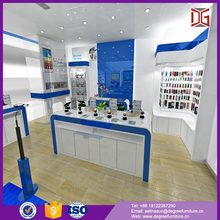 Modern cell phone store with glass store mobile phone display showcase