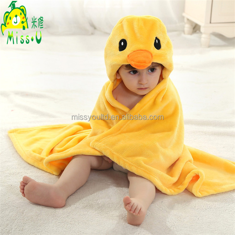 High Quality Soft Duck Hooded Towel Plush Cloak Supplier For Children