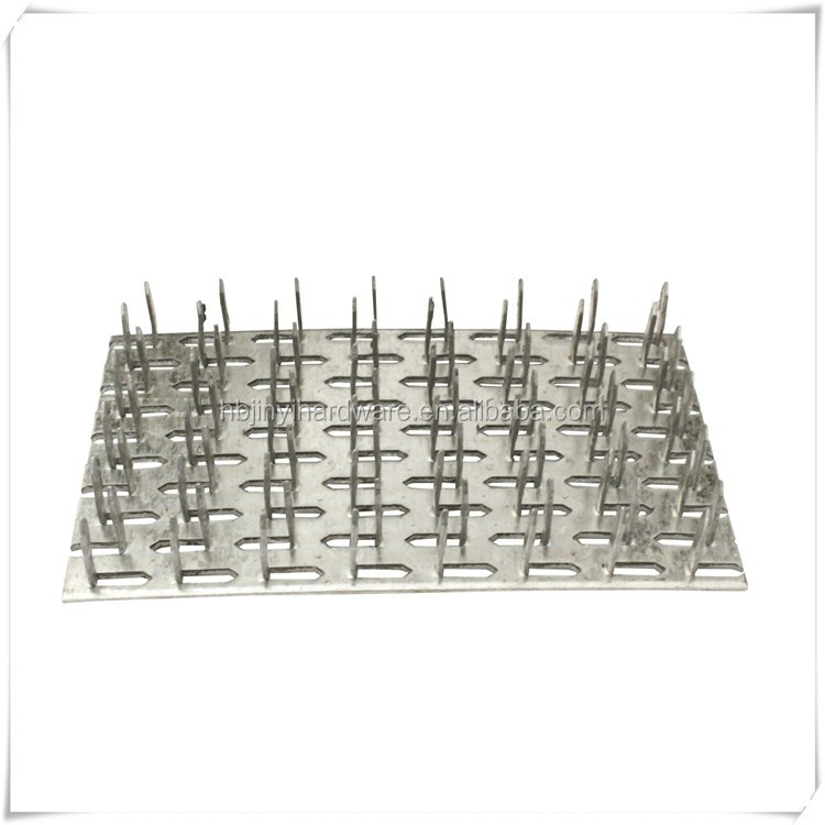 Wood truss connector plate nail