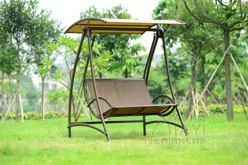Cool 2 Seats Durable Iron Garden Swing Chair Comfortable Hammock Outdoor Furniture Sling Cover Bench Khaki Machost Co Dining Chair Design Ideas Machostcouk