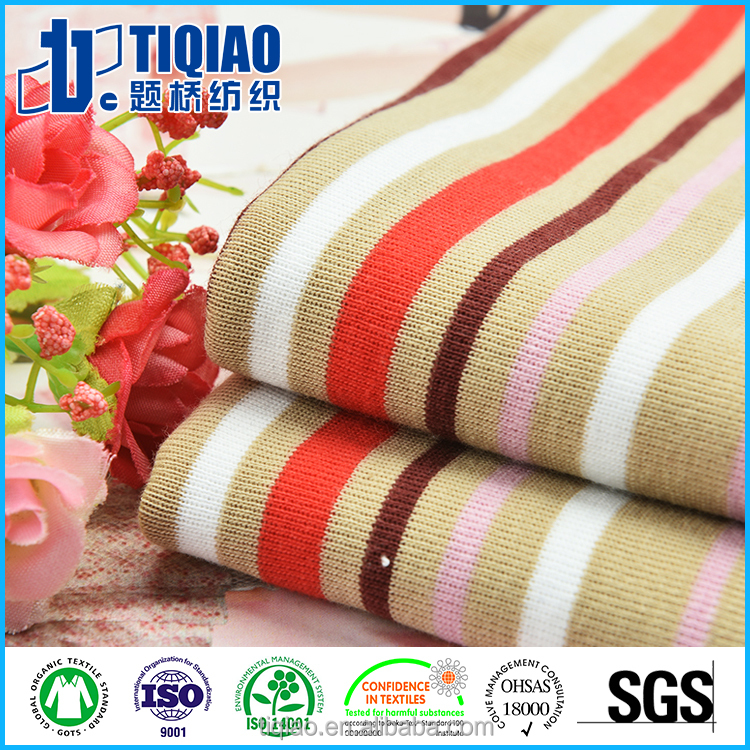 Tube CVC60/40 1*1 striped ribbing 26S/1 Knit fabric for dress/shirts