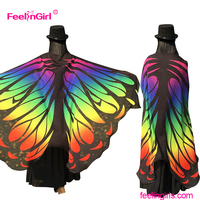 Factory price colorful novelty butterfly shawl dress cape