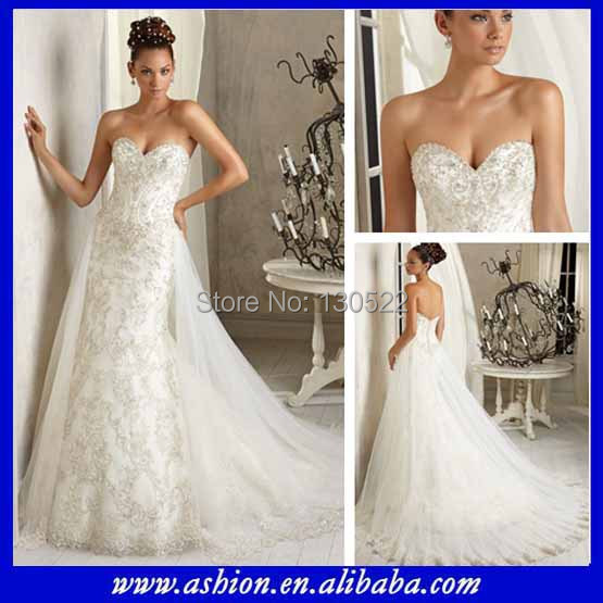 Wedding Dresses With Detachable Tail: Free Shipping WE 2188 Sweetheart Neckline Fit And Flare