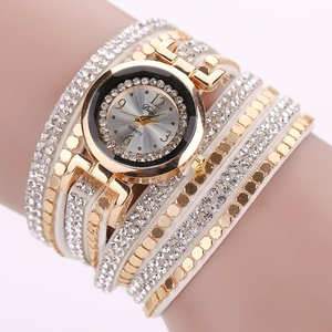 Duoya Brand New Luxury Rivets Crystal Gold Wrist Watch Women Fabric Bracelet Watches Casual Vintage Lady Watch