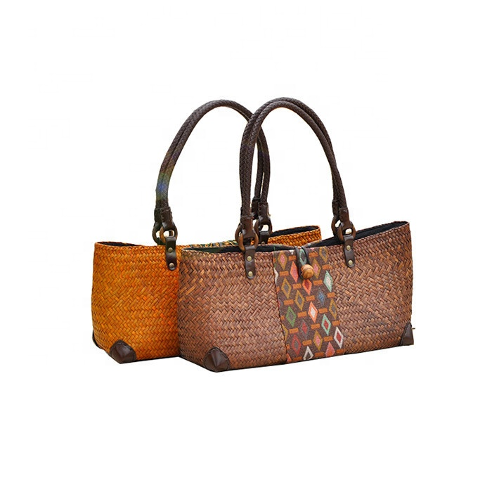 New Imported Straw Woven Bags Beach Bags Ladies Holiday Travel Hand Handbag Shoulder Bags For Women