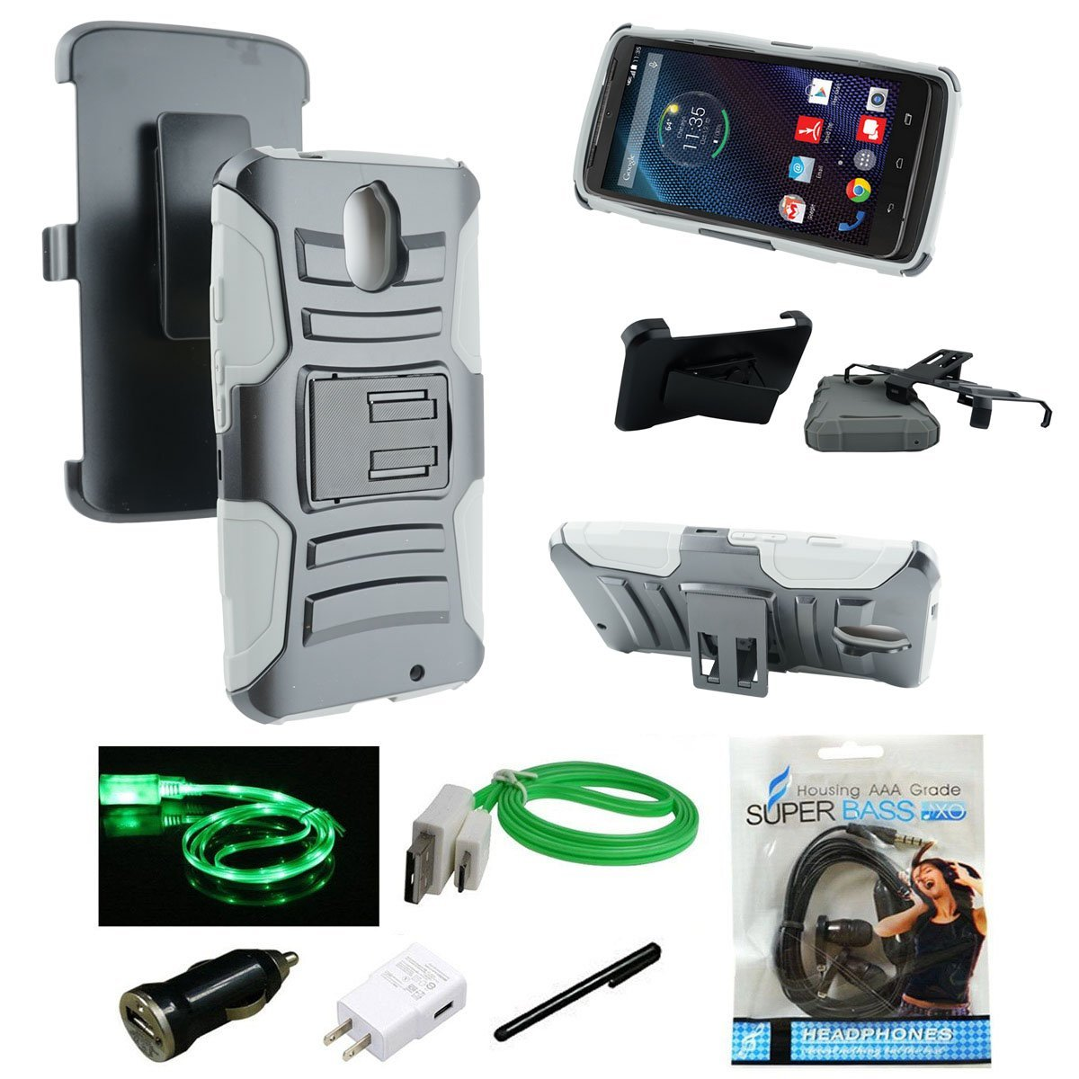 Motorola Droid Turbo 2 Case, Mstechcorp Combo Rugged Shell Cover Holster with Built-in Kickstand and Holster Locking Belt Clip, For Droid Kinzie XT1585 Verizon - Includes Accessories (H Gray)